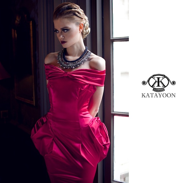 From luxury shoot for Katayoon London - in couture black dress and Jolita Jewellery's luxury beaded statement collar