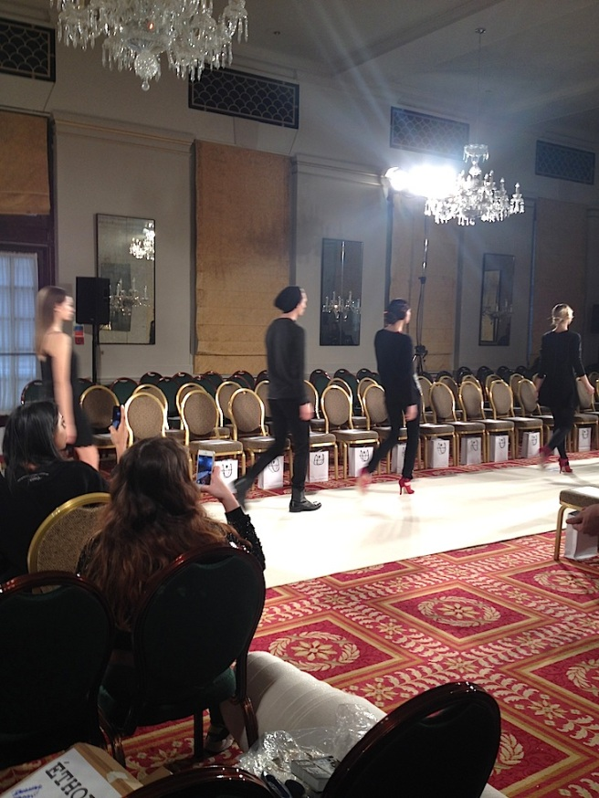 Backstage at Ethologie with Jolita Jewellery LFW A/W 14 show - walk rehearsal