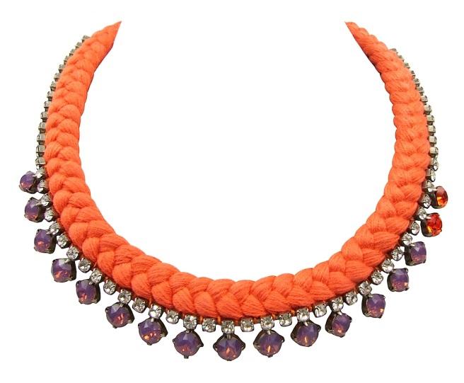 This beautiful handmade statement necklace by Jolita Jewellery is made with vibrant orange silk braid and opaque purple Swarovski crystals
