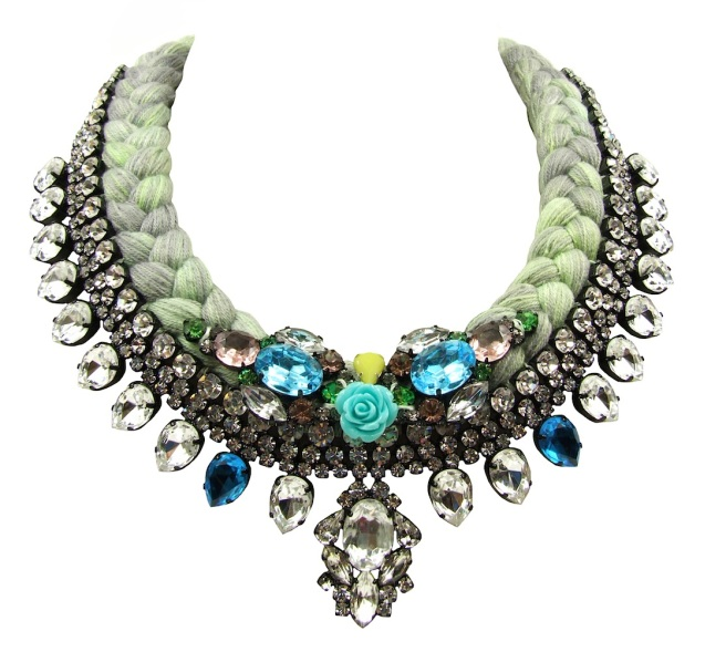 Maldives Luxe statement necklace designed by Jolita Jewellery in clear crystals dipped in gold and chartreuse grey silk braid, hand-dyed by designer in his London studio, which is embellished with colourful crystals and coral flower, intricately hand-stitched to the braid.