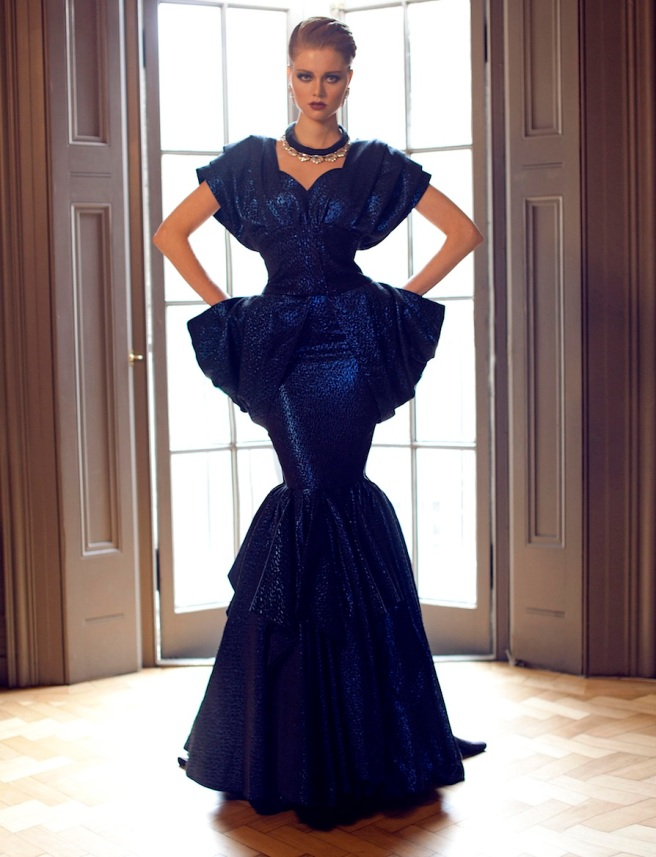From a fashion shoot - in a beautiful Katayoon Haute Couture dress and Jolita Jewellery's luxury Madrid statement earrings and Paris Luxe necklace in a black double collar silk braid and clear crystals dipped in gold