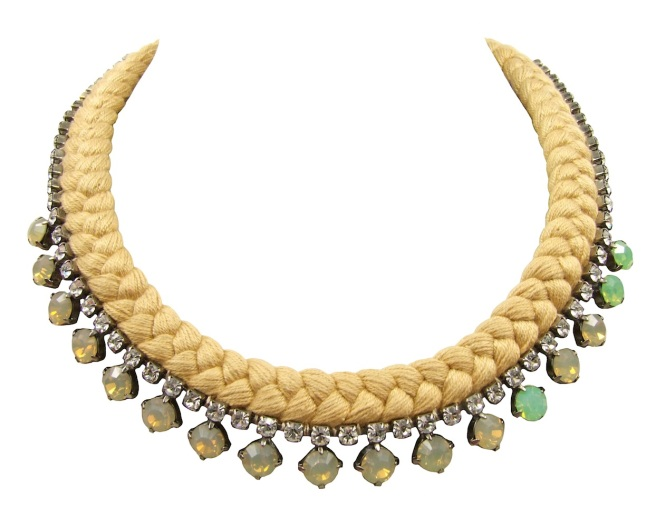 This beautiful handmade statement necklace by Jolita Jewellery is made with dark nude silk braid and opaque nude Swarovski crystals, mixing in a few green stones.