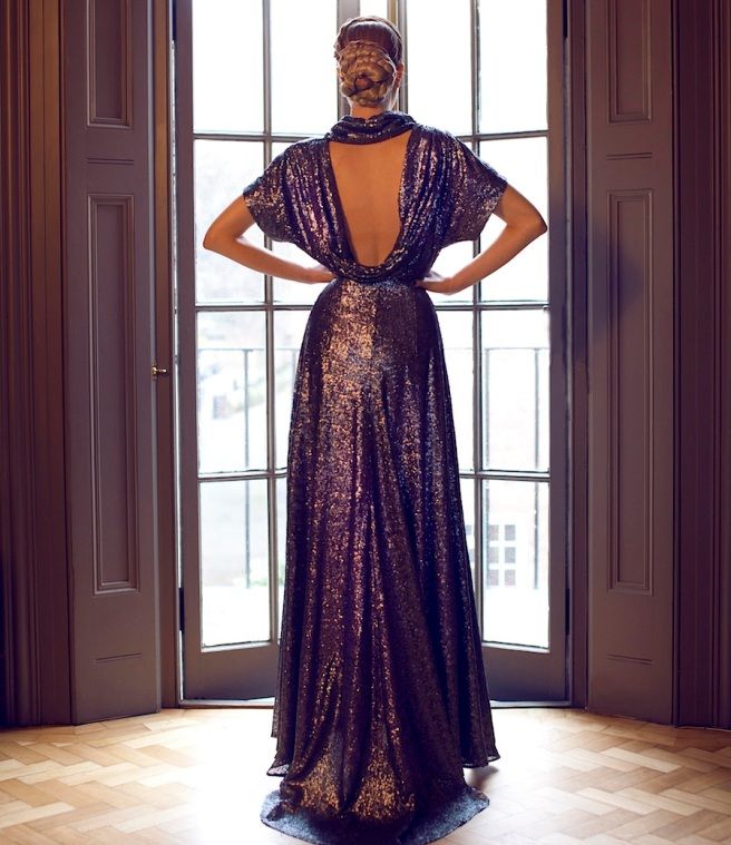 From a fashion shoot - in a beautiful Katayoon Haute Couture dress and Jolita Jewellery's Vancouver statement necklace, made with aubergine silk braid and dipped in gold amethyst colour crystals