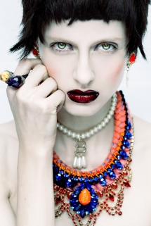 All Hollow Magazine, March 2014 - model Chloe is wearing skull earrings, skull ring and two statement necklace by Jolita Jewellery, hand-made with hand-dyed silk and crystals