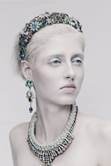 All Hollow Magazine, March 2014 - model Chloe is wearing Baroness crystal and skull earrings and Monaco statement necklace by Jolita Jewellery, hand-made with hand-dyed silk and crystals
