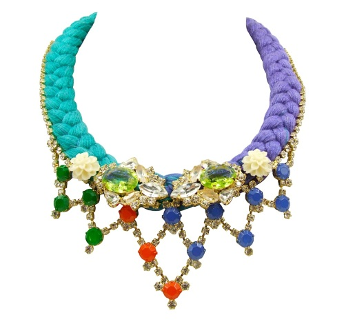 Custom-made Amsterdam statement necklace designed by Jolita Jewellery in clear crystals dipped in gold and a dip-dyed silk braid, gradually changing from green to purple, hand-dyed by designer in his London studio. The silk braid is embellished with colourful crystals and coral flowers, intricately hand-stitched to the braid.