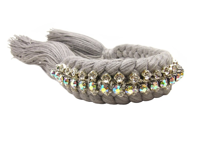 Braided bracelet by Jolita Jewellery, made with grey silk braid and beautiful iridescent crystals, intricately hand-stitched to the braid