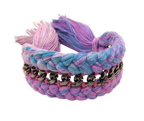 Chelsea braided bracelet by Jolita Jewellery, made with grey multicoloured silk in purple, pink and blue, hand-dyed in our studio, and embellished with a chain