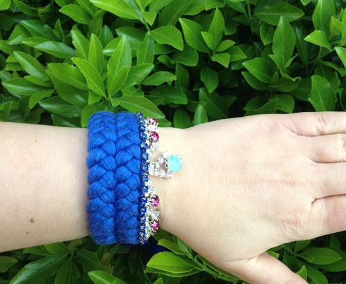 Colourful braided cuff handmade with a blue silk braid, hand-dyed in our studio, and embellished with colourful crystals