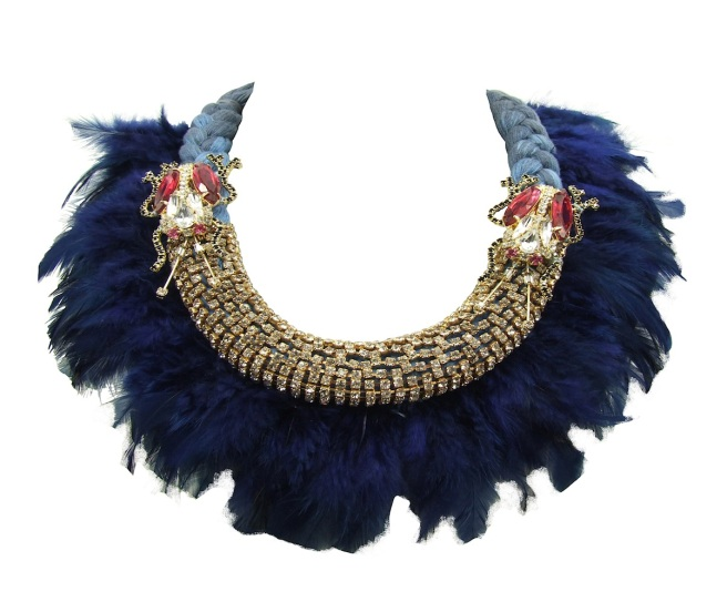 Jolita Jewellery's Feather statement necklace, made with blue and grey silk braid, hand-dyed in our studio, blue feathers, clear crystals and two pink crystal longhorn beetles