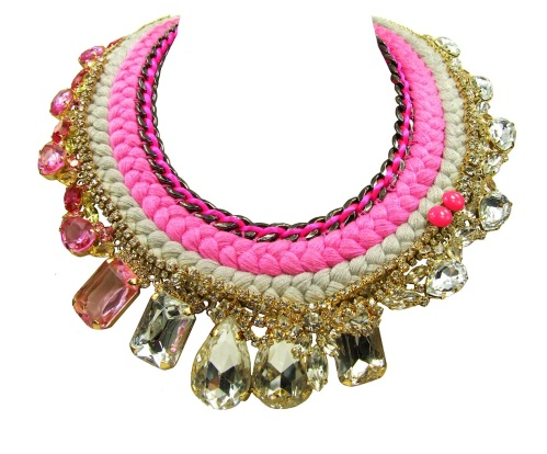 A colourful double collar statement piece by Jolita Jewellery made with clear and pink crystals, gunmetal chain and neon Swarovski pearls