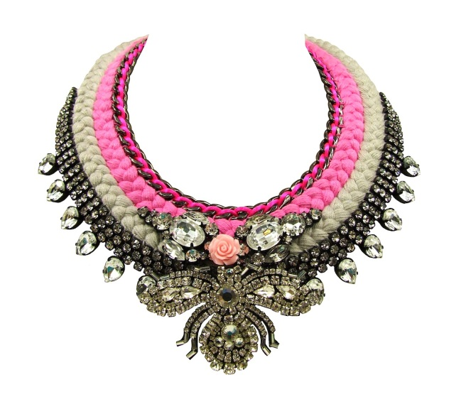A colourful double collar statement piece by Jolita Jewellery made with clear rhinestones, gunmetal chain, crystals, coral flower and beaded bug.