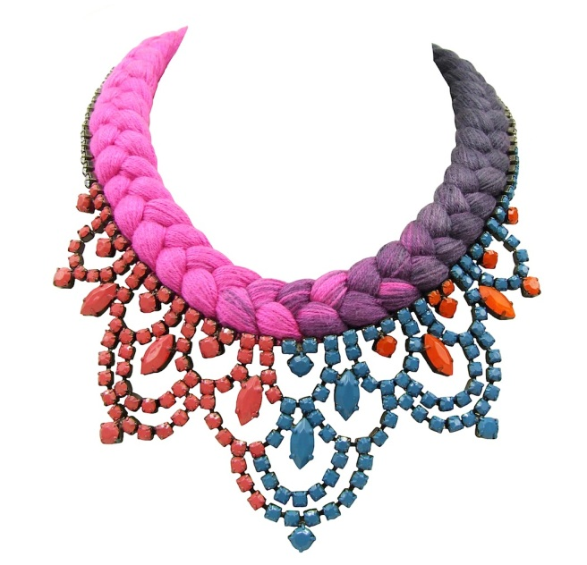 Colourful Malaga necklace by Jolita Jewellery with dip-dyed silk in hot fuchsia, gradually changing to purple charcoal and hand-painted crystals