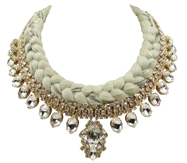 Maldives statement necklace designed by Jolita Jewellery in clear crystals dipped in gold , and white silk braid, mixing a touch of grey, hand-dyed by designer in his London studio