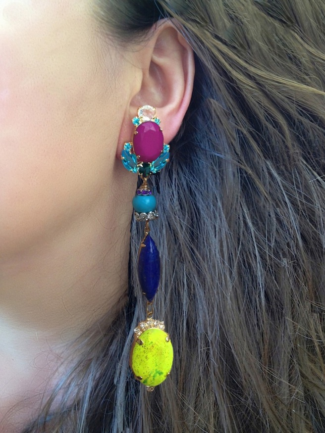 Colourful statement earrings by Jolita Jewellery hand-made using colourful crystals and hand-dyed silk