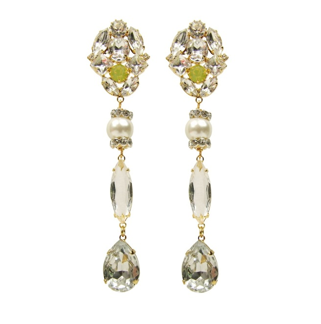 Clear crystal earrings by Jolita Jewellery, embellished with white faux pearls and dipped in gold for luxurious rich finish. Made for pierced ears.
