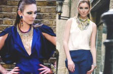 London Regal editorial, published in Zele magazine, March 2014. in Jolita Jewellery statement jewels: model on the left - in Jolita Jewellery's Debutante earrings and Ipanima Luxe necklace, model on the right (trousers outfit) - in Attention Seeker multi strand necklace and clear Madrid earrings.