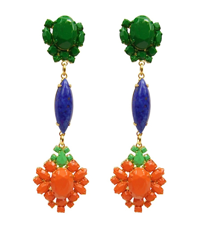 Colourful statement earrings, made with dipped in gold hand-painted crystals