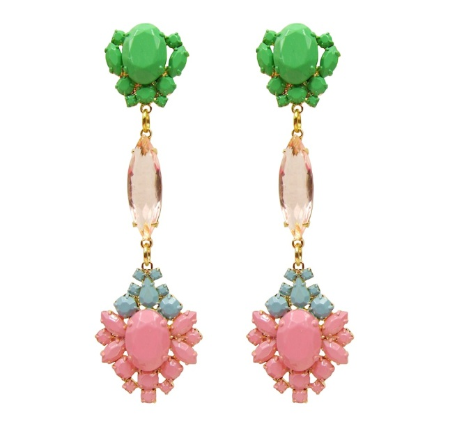Colourful statement earrings, made with dipped in gold and hand-painted in soft pastels crystals