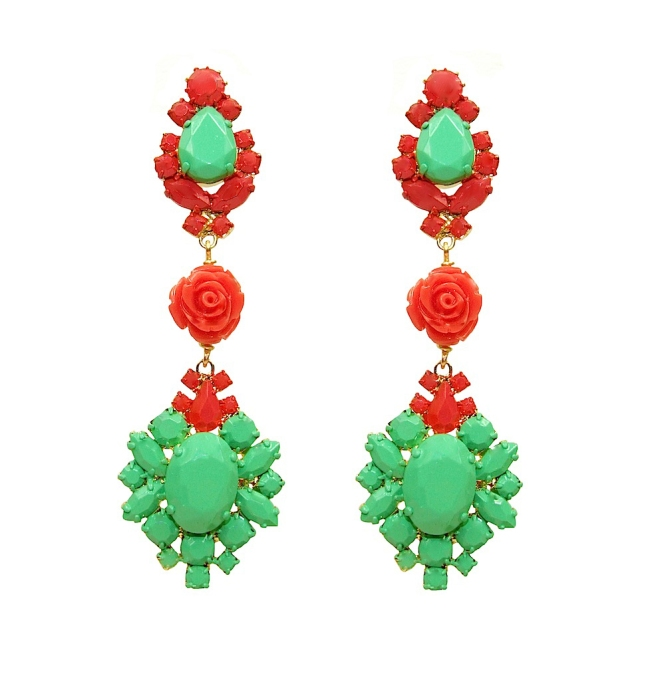 Colourful statement earrings, made with dipped in gold and hand-painted in bright red and green