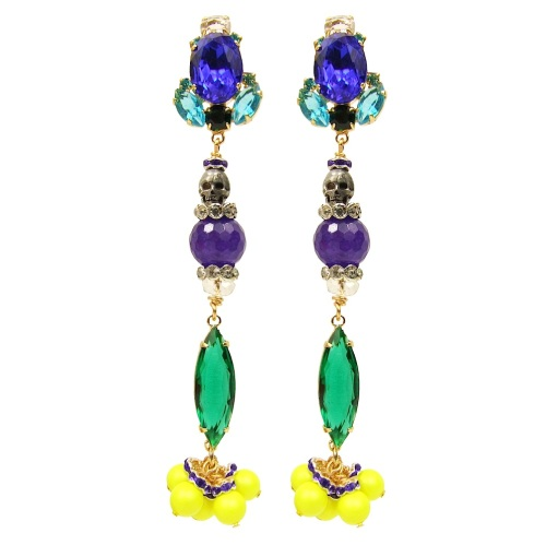 Colourful statement earrings by Jolita Jewellery, hand-made with beautiful dipped in gold cobalt blue and emerald green crystals, purple Brazilian amethyst, skull and neon Swarovski pearls