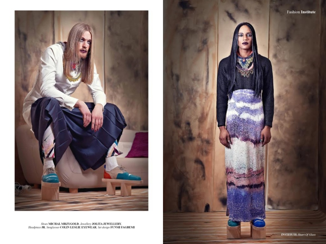 From Heart Of Glass editorial, published in Institute Magazine March 2014 - in Jolita Jewellery: Julius on the right in Madrid, Brussels and Malaga necklaces. Chris (sitting on the left) in luxury Cairo and Turin statement necklaces