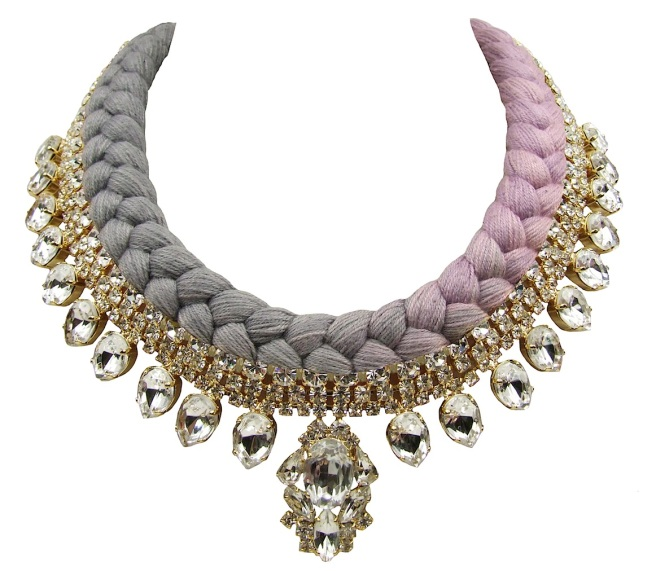 Maldives statement necklace designed by Jolita Jewellery in clear crystals dipped in gold , and dip-dyed silk braid, gradually changing from grey to lavender, hand-dyed by designer in his London studio