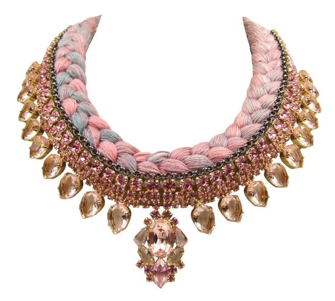 Marseille Luxe statement necklace designed by Jolita Jewellery in pink crystals dipped in gold and a pink and grey silk braid, hand-dyed by designer in his London studio, which is embellished with a thin chrome chain, intricately hand-stitched to the braid.
