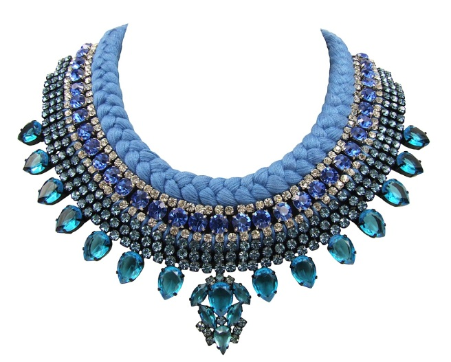 Santorini Luxe beaded collar blue