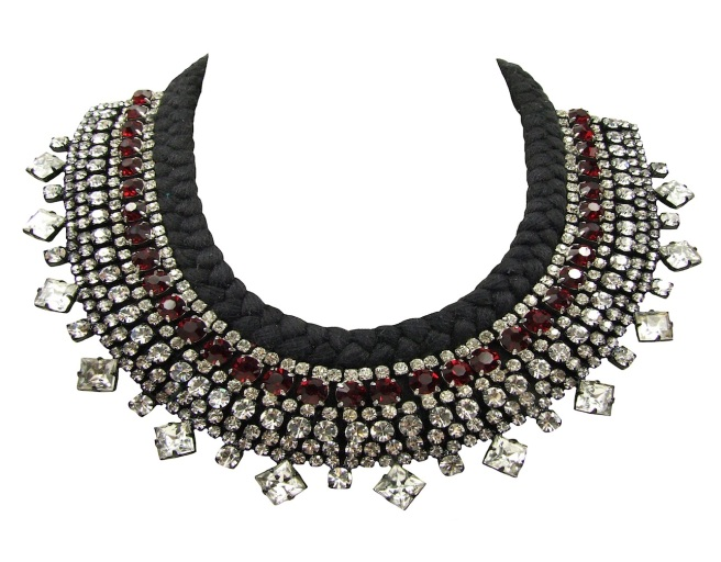Jolita Jewellery's luxury beaded crystal collar, made with hand-dyed silk and an array of crystals