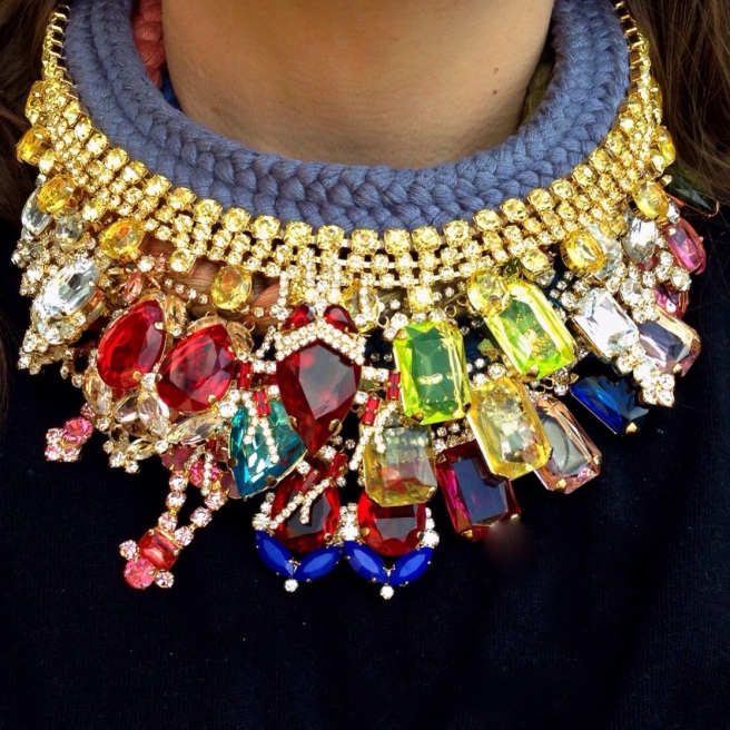 Luxury statement necklaces all hand-made by Jolita Jewellery mixing hand-dyed silk and colourful dipped in gold crystals