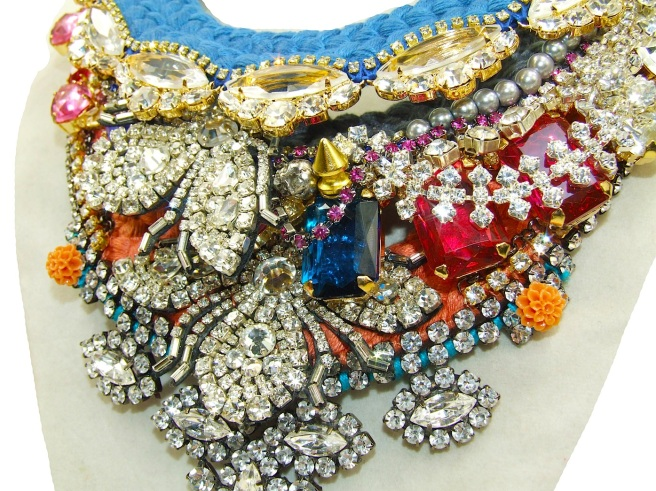 progress - new statement pieces are being created with colourful hand-dyed silk and sparkly crystals