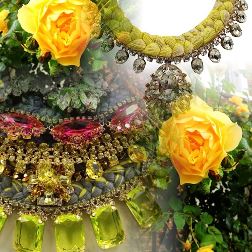 Flower inspiration in Jolita Jewellery statement pieces, influencing the colours