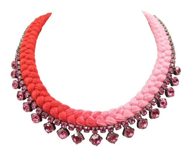 This beautiful handmade statement necklace by Jolita Jewellery is made with dip-dyed silk braid in pink and fuchsia and pink Swarovski crystals