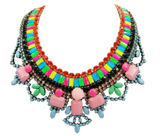 This vibrant handmade statement necklace by Jolita Jewellery is made with colourful rhinestones and a hand-painted necklace
