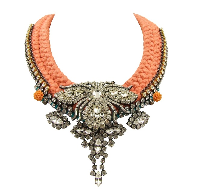 This one-of-a-kind St.Petersburg statement necklace by Jolita Jewellery is made with peach colour silk braid, hand-dyed by the designer, an array of clear crystals and a beaded bug, positioned at the very centre.
