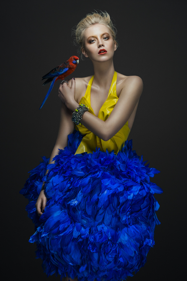 BIRDS editorial, Glassbook magazine, June 2014 - crystal Chaos cuff by Jolita Jewellery, from Kaleidoscope collection