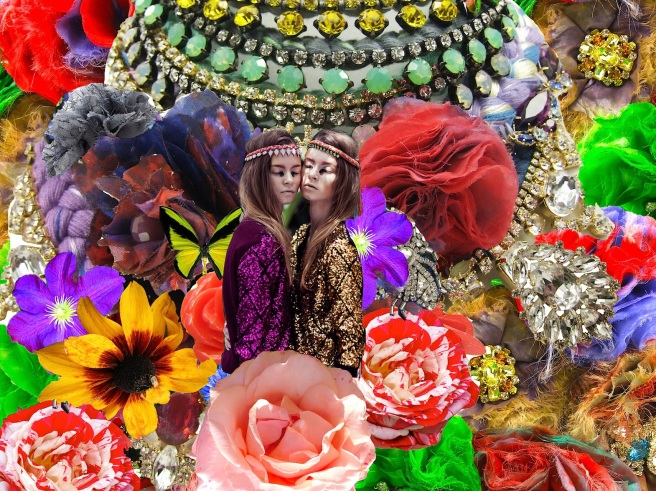 Colourful collage, incorporating Jolita Jewellery's statement pieces, colourful crystals, hand-made and real flowers