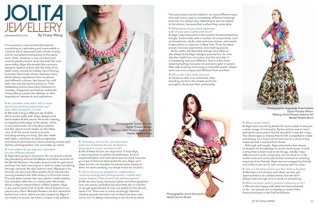 Jute magazine Volume X, June 2014 - Jolita Jewellery Interview