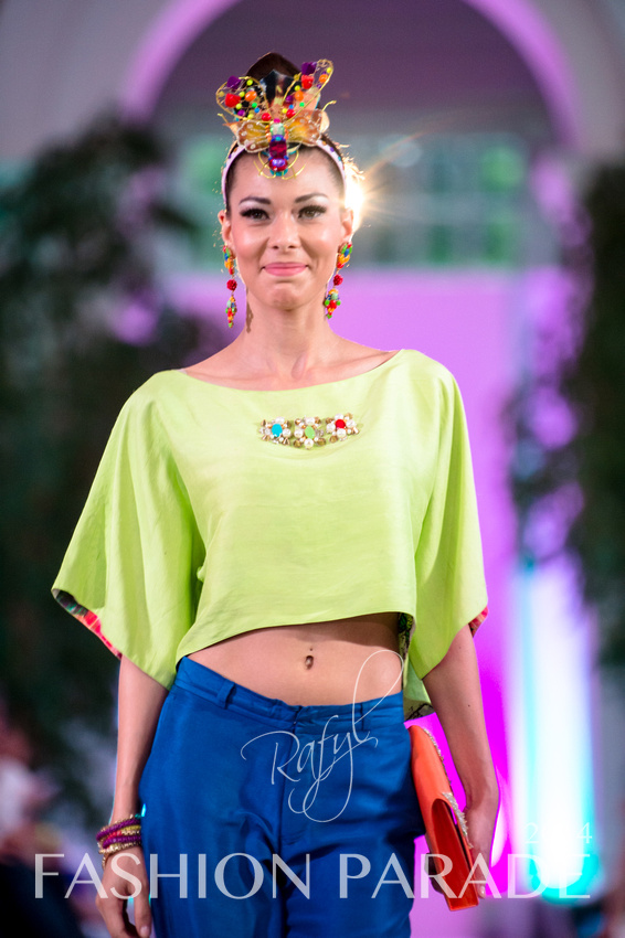 Fashion Parade 2014 - in hand-painted Havana earrings by Jolita Jewellery, Zara Shahjahan clothes
