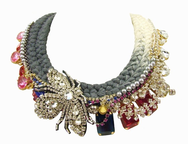 Midnight In Jeddah collar statement piece by Jolita Jewellery made with clear, blue and pink crystals, chains, pearls and a beaded bug