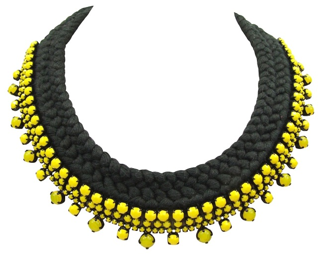 Braided collar style statement necklace made with neon opaque yellow rhinestones and dip-dyed silk braid in charcoal, hand-dyed in our studio