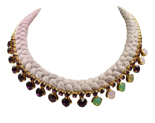 A light and elegant La Rochelle statement necklace by Jolita Jewellery, made with hand-dyed dip-dyed silk braid gradually changing from soft lavender to silver grey, embellished with purple and green Swarovski crystals