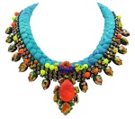 Colourful Maldives statement necklace by Jolita Jewellery made with vibrant turquoise silk braid , hand-dyed by the designer. Embellished with hand-painted crystals and neon pearls.
