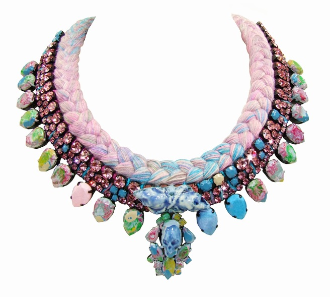 Marseille statement necklace designed by Jolita Jewellery with pink crystals and multi-coloured pastel silk braid hand-dyed in our London studio. Some of the crystals are hand-painted, the silk is adorned with porcelain skulls, cast by the designer. Crystal painting motives are inspired by Jackson Pollock's paintings.