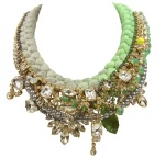Luxury Medeleine statement necklace, made with hand-dyed silk, gradually changing from chartreuse to soft grey and an array of dipped in gold crystals