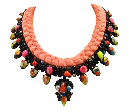 Colourful San Marino statement necklace by Jolita Jewellery made with peach silk braid , hand-dyed by the designer. Embellished with hand-painted crystals and neon rhinestones