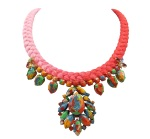 Colourful Sao Paulo statement necklace by Jolita Jewellery, created with a dip-dyed silk braid, gradually changing from fuchsia to scarlet, hand-dyed in our studio. The silk braid is embellished with hand-painted crystals and two small luxury crystal bugs, dipped in gold.
