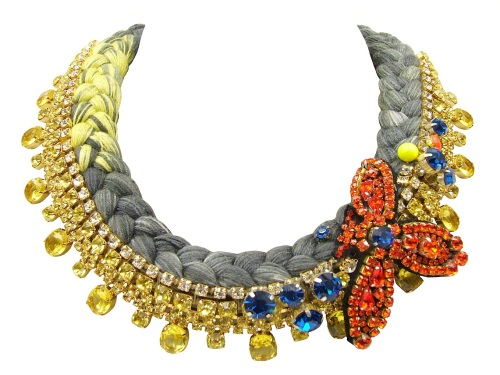Colourful statement collar by Jolita Jewellery, made with hand-dyed silk in grey and yellow, adorned with dipped in gold yellow crystals, scattered blue Swarovski crystals and beaded orange bug