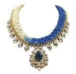 Casablanca statement necklace is made in a dip-dyed silk braid in cream and rich blue. The necklace is adorned with beautiful clear crystals dipped in gold.